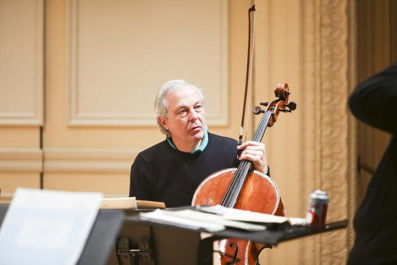 Cellist Ulrich Heinen in rehearsal for the Tiger's Nest premier