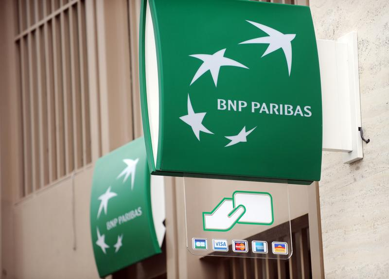 A sign for the French bank BNP Paribas in Paris.
