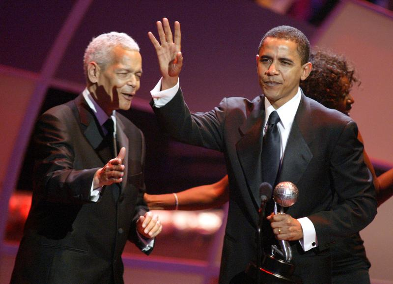Julian Bond and Barack Obama during The 36th Annual NAACP Image Awards - Show at Dorothy Chandler Pavillion in Los Angeles, California, United States.
