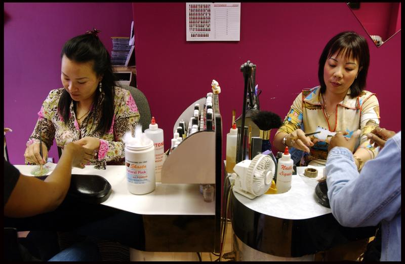 Vietnamese immigrants in nail salon.