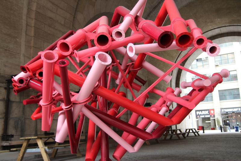 The Matchmaker sculpture, currently under the Manhattan Bridge, helps users make cosmic love connections
