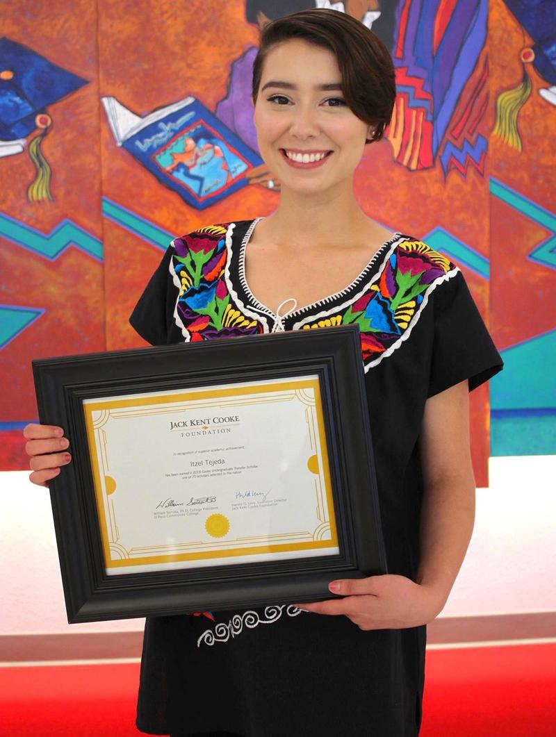 Itzel Tejeda, who has been awarded El Paso Community College's Jack Kent Cooke Foundation Undergraduate Transfer Scholarship worth up to $40,000.