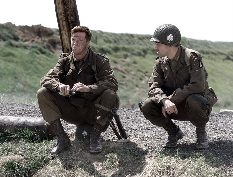 Actors Damian Lewis (as Richard Winters) and Ron Livingston (as Nixon) act in a scene from HBO''s war mini-series 'Band Of Brothers.'