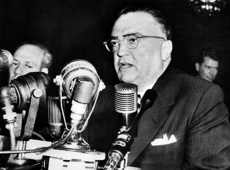 John Edgar Hoover, Director of the Federal Bureau of Investigation (FBI) of the United States, gives a speech during a testimony before the senate internal security committee, on November 17, 1953.