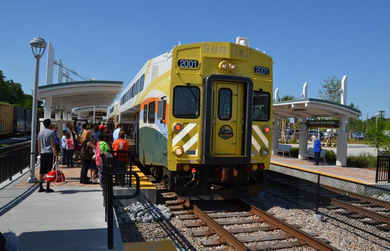 A SunRail commuter train in Orlando, Florida