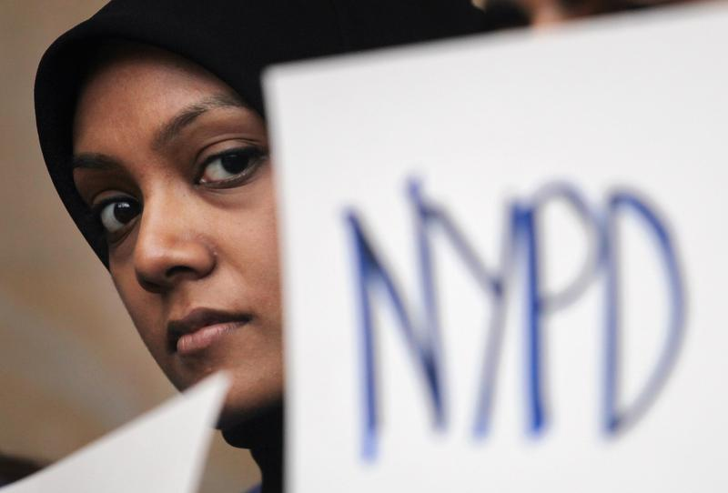 A New York University (NYU) student attends a town hall to discuss the NYPD's surveillance of Muslim communities on February 29, 2012 in New York City.