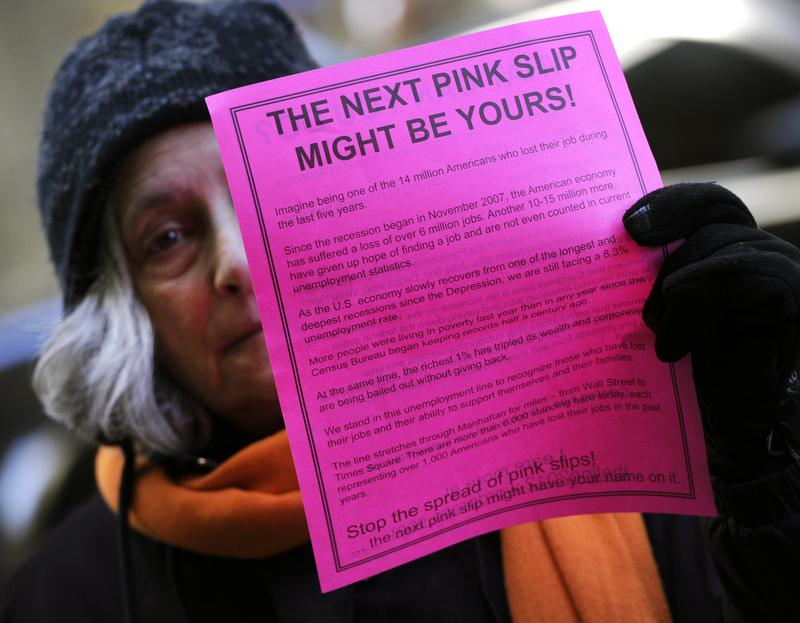A person takes part in 'THE LINE', a protest representing 14 million unemployed Americans and demanding action from congress and corporations down on Wall Street March 6, 2012.