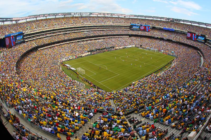 A sellout crowd of over 81,000 watches Brazil play Argentina during the second half of an international friendly soccer match on June 9, 2012 at MetLife Stadium in East Rutherford, New Jersey.
