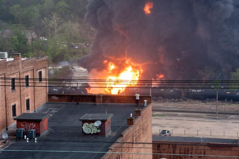 The scene in Lynchburg, VA, following the derailment of a train carrying crude oil