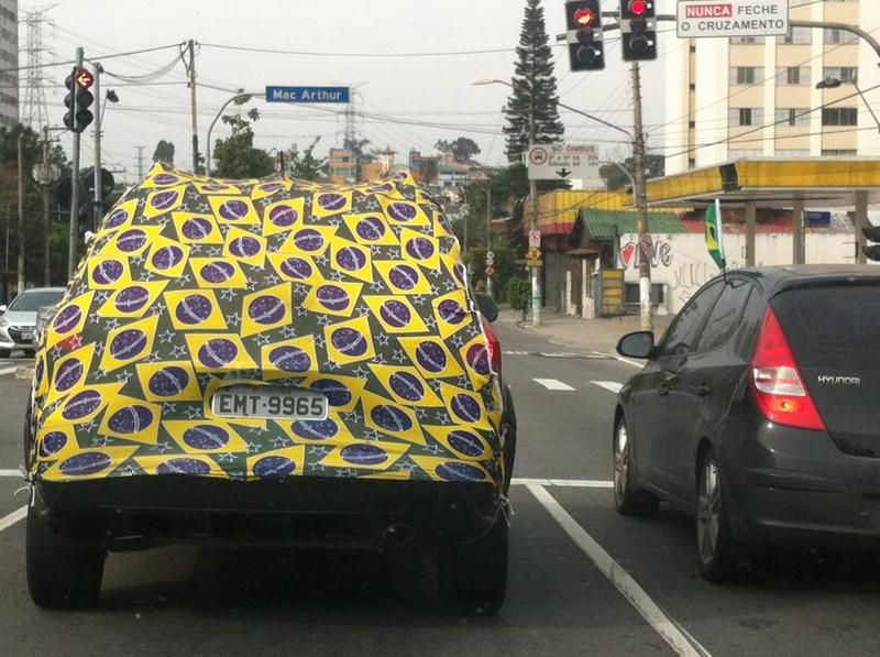 A car in São Paulo, Brazil, during the 2014 World Cup