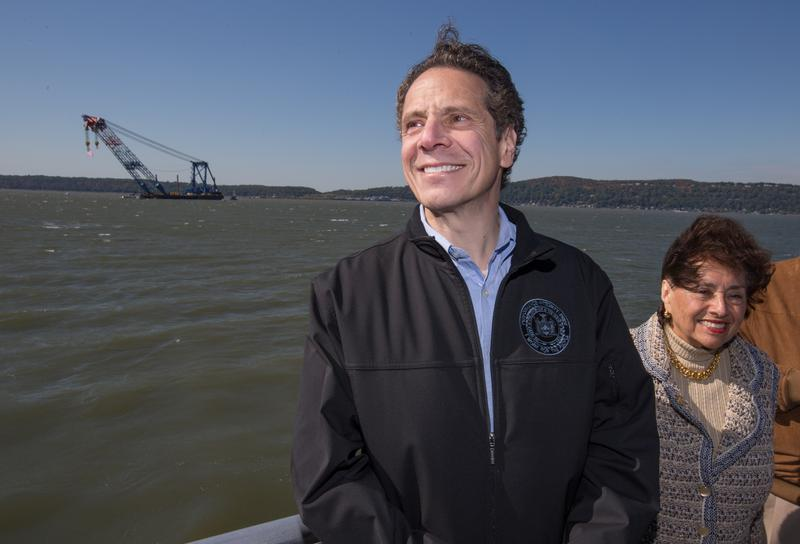 Governor Andrew Cuomo in front of New York's Tappan Zee Bridge