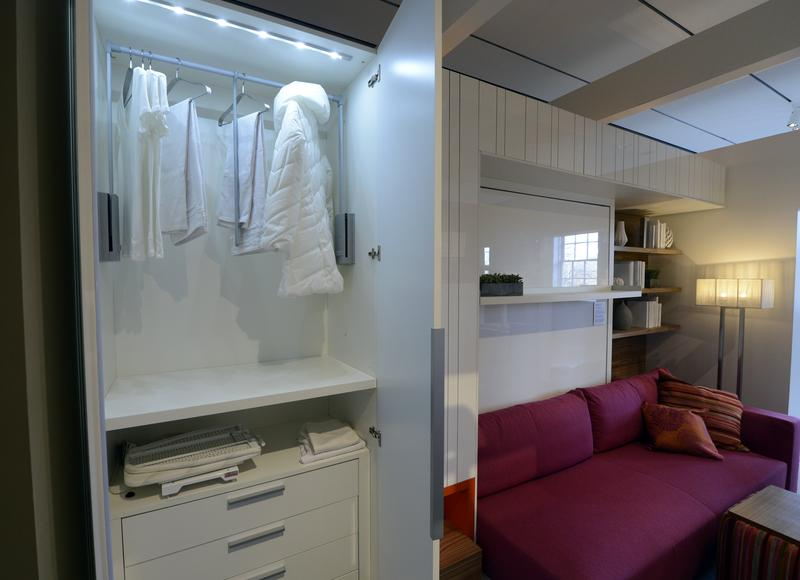 The closet inside a 325-square-foot studio apartment during an exhibit displaying a transformable 'micro-unit' at the Museum of the City of New York January 23, 2013.