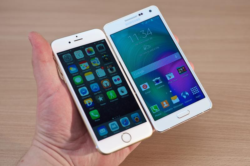 Apple's iPhone 6 next to a Samsung Galaxy A5.