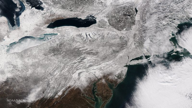 The extent of snowfall from the blizzard is shown in this image from the Suomi NPP satellite imagery, taken on January 28, 2015 at 1:50 EST.