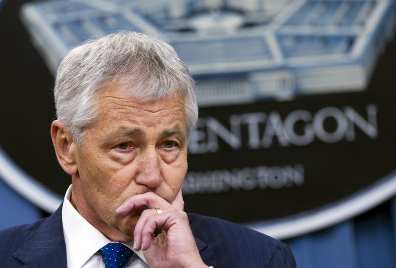 US Secretary of Defense Chuck Hagel speaks during a press briefing on the Pentagon's Fiscal Year 2014 budget at the Pentagon in Washington, DC, on April 10, 2013.