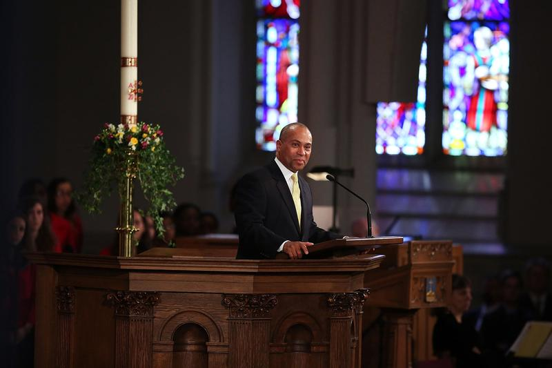 Massachusetts Gov. Deval Patrick speaks at an interfaith prayer service for victims of the Boston Marathon attack on April 18, 2013 in Boston.