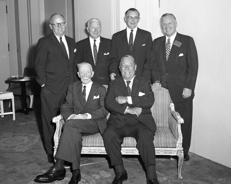 Former Police Commissioners; sitting: Edward P. Mulrooney and Grover Whalen. Standing: Arthur Wallender, William P. O'Brein, Francis W.H. Adams and current PC Stephen P. Kennedy 2/24/1958