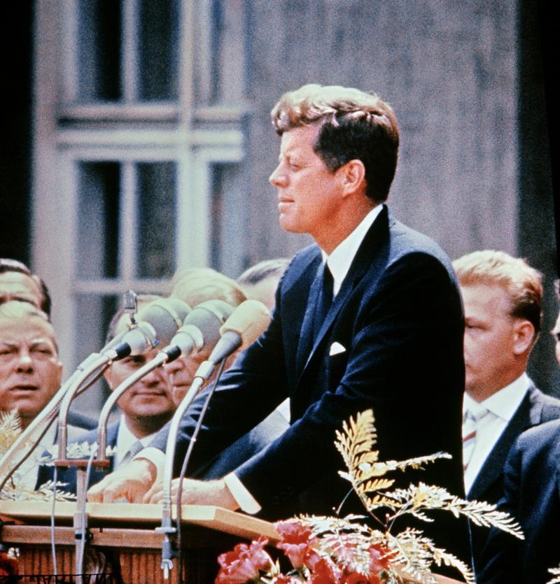 A portrait taken on July 15, 1957 shows US Senator John Fitzgerald Kennedy giving a speech.