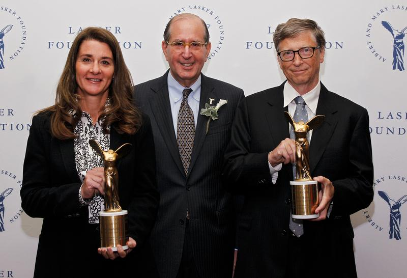 Melinda Gates, winner of the Public Service Award, Lasker Board Member Alfred Sommer, and Bill Gates, winner of the Public Service Award, are seen during the 2013 Lasker Awards. Sept. 20, 2013