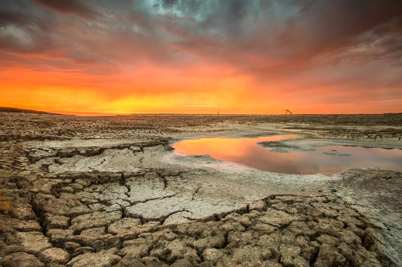 During a particularly dry summer, many of the Salt Flats in Silicon Valley, California were either drained or dried up, leaving a dry-lake bed underneath.