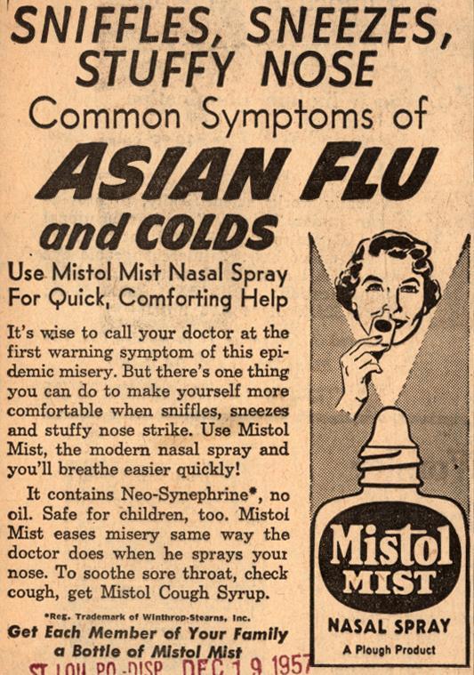 "A 1957 advertisement for ""flu medicine"""