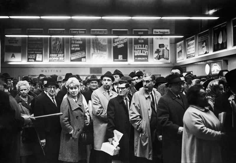 Huge crowds of people wait in long lines to use the Long Island Railroad as an alternate form of transport during a transit workers strike, Penn Station, New York City, New York, January 3, 1966..