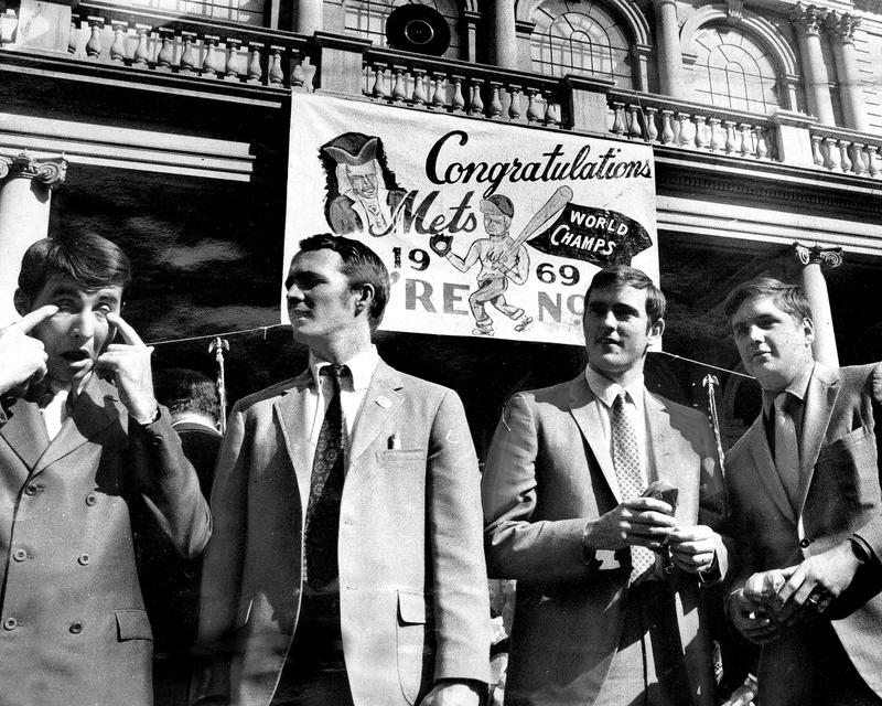 The World Champion Mets were toast of town. First they were honored at City Hall and group (l. to r.) Jim McAndrew, Booby Pfeil, Nolan Ryan and Tom Seaver savor moment of glory.