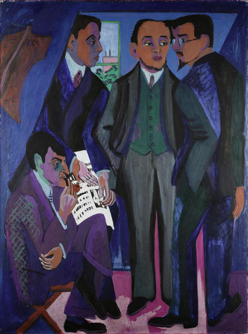 Ernst Ludwig Kirchner (1880-1938). A Group of Artists (The Painters of the Brücke), 1925-26. Oil on canvas, 66 1/8 x 49 5/8 in. (168 x 126 cm). Museum Ludwig, Cologne