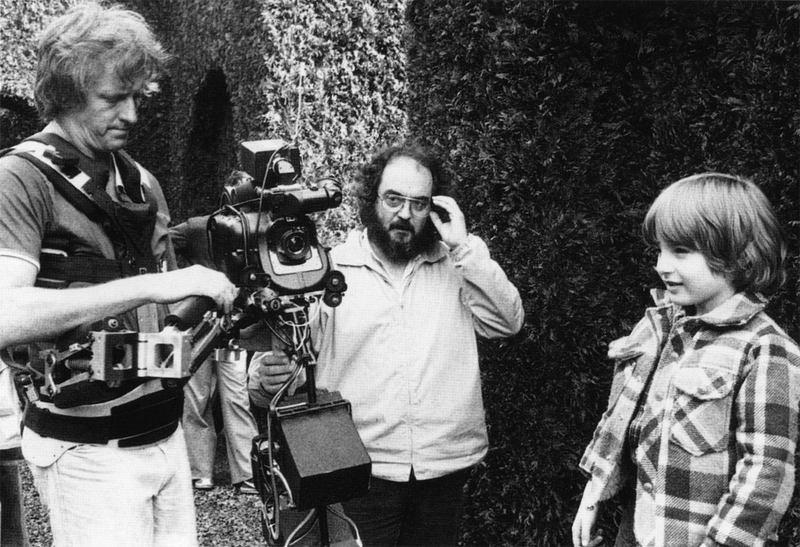 Garrett Brown, Stanley Kubrick, and Danny Lloyd on the set of The Shining (1980)