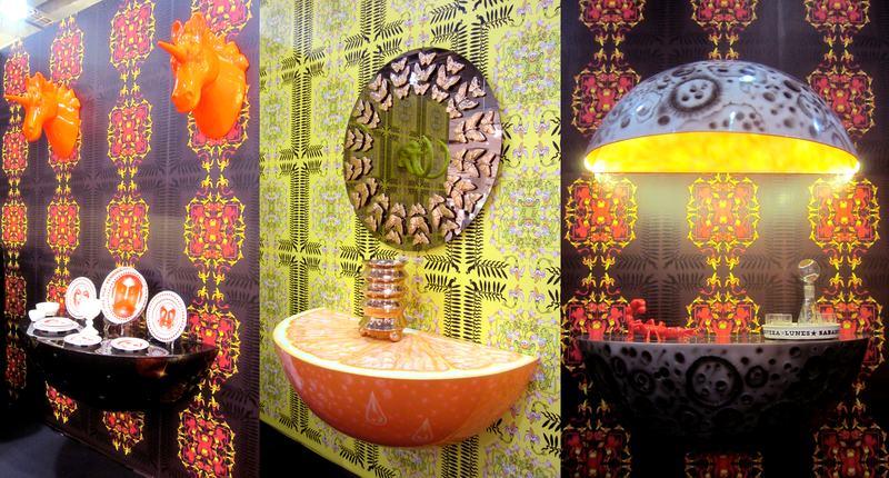 Casual Dinnerware (2013), Orange Crush Fiberglass Wall Console (2013), Rosario Mirror (2013)