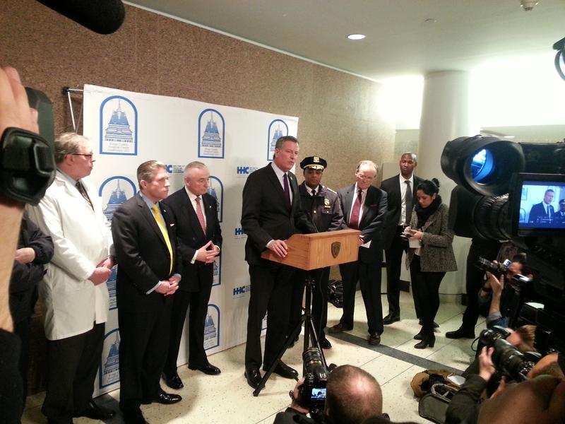 Mayor Bill de Blasio speaks at a press conference after a police officer was shot in Brooklyn.
