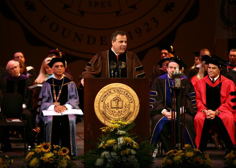 Gov. Christie speaks at the Rowan University commencement ceremony on May 16.