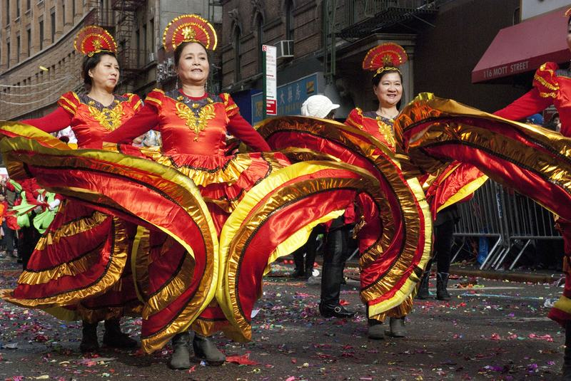 Traditional dancers in the Lunar New Year parade in Chinatown, NY.