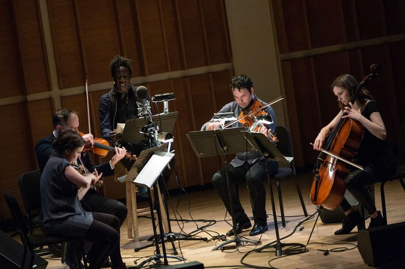 Saul WIlliams and Mivos Quartet at Ecstatic Music Festival 2014