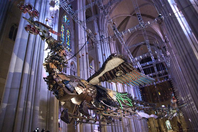 Phoenix, by Chinese artist Xu Bing, inside the Cathedral of St. John the Divine