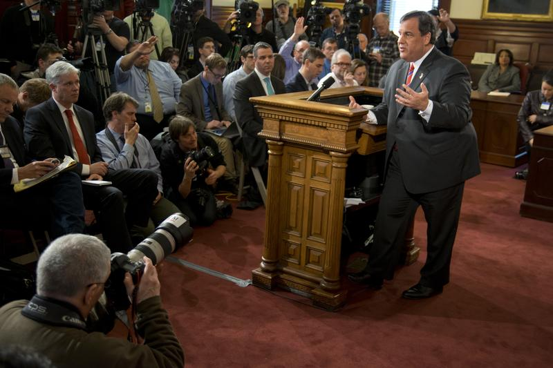 TRENTON, NJ - NJ Governor Chris Christie speaks to press on March 28, the day after an internal investigation exonerates him from involvement in Bridgegate.