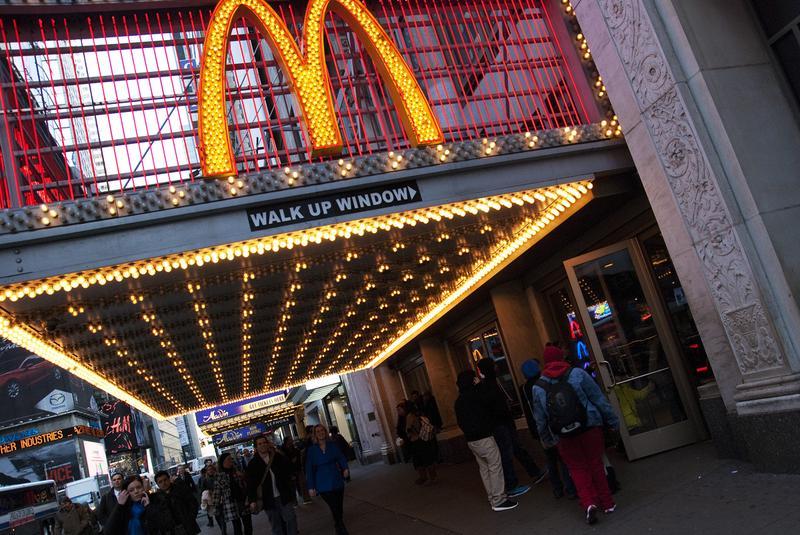 Guests enter McDonald's restaurant on 41st street in midtown Manhattan.