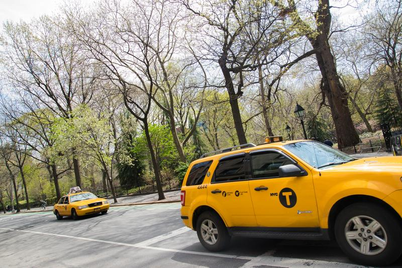 Taxis pass Washington Square Park on a sunny day in late April.