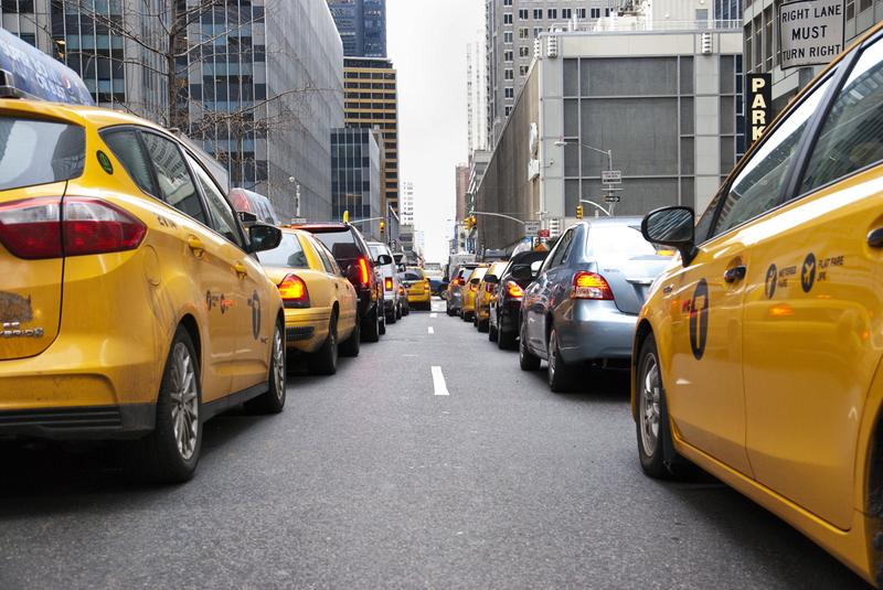 Cars sit in traffic on West 53rd street in midtown Manhattan.
