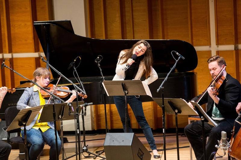 Julia Holter and Spektral Quartet at the Ecstatic Music Festival at Merkin Concert Hall February 25, 2015