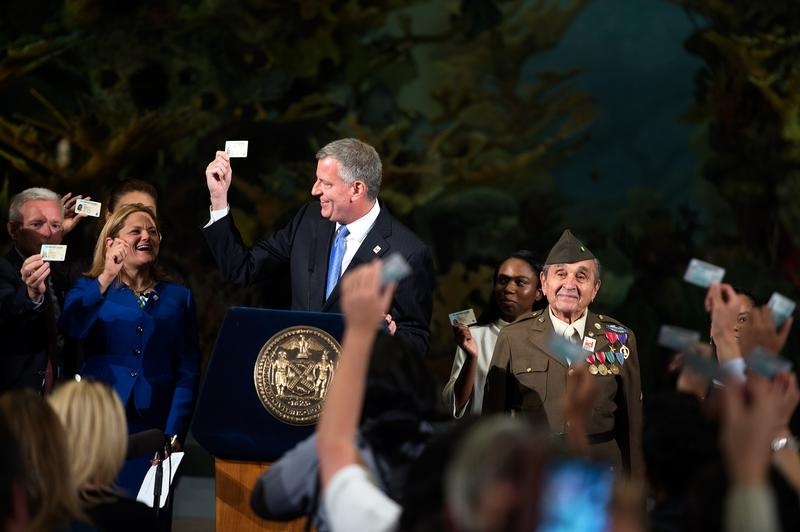 Mayor Bill de Blasio delivers remarks at the IDNYC message event at the Museum of Natural History