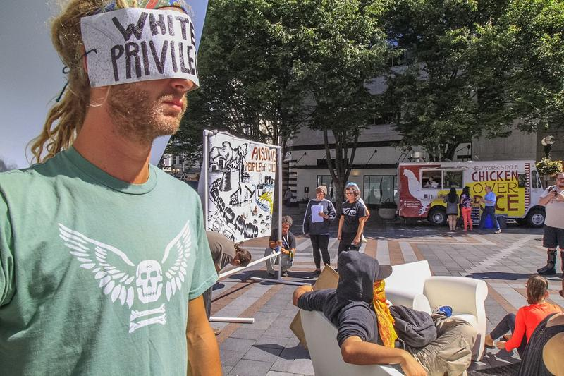 "Seattle, Washington, August 17, 2015 - People are invited to participate in a public interactive art installation to expose racism as the""elephant in the room""."
