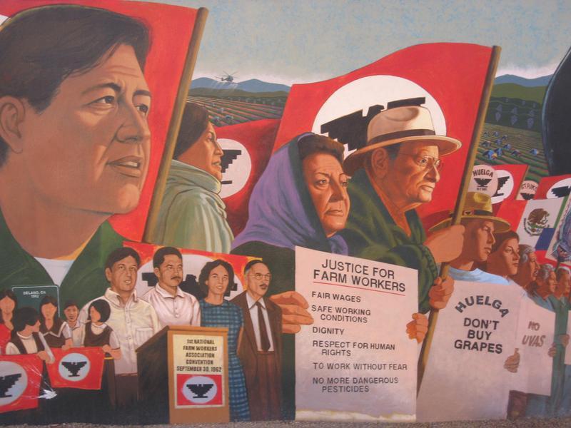 A Cesar Chavez memorial mural in San Fernando, CA.
