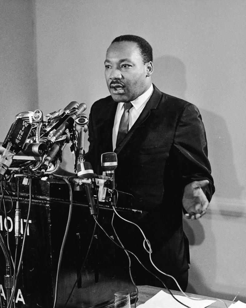 Rev. Dr. Martin Luther King, Jr.  speaks at a press conference for Clergy & Laymen Concerned About Vietnam, held at the Belmont Plaza Hotel, New York City, January 12, 1968.