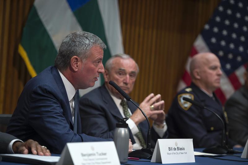 Mayor Bill de Blasio and Police Commissioner Bill Bratton host a press conference to discuss crime statistics.
