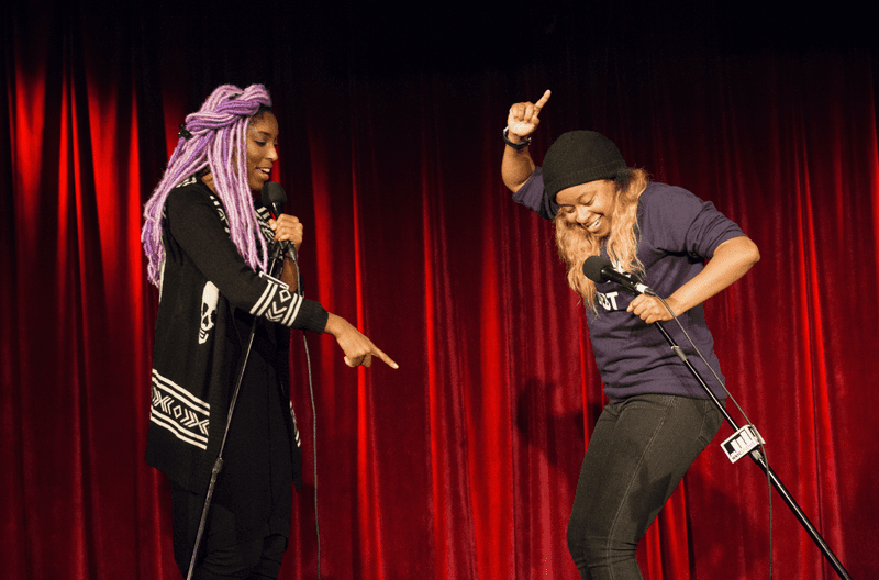 Jessica Williams and Phoebe Robinson, hosts of 2 Dope Queens.