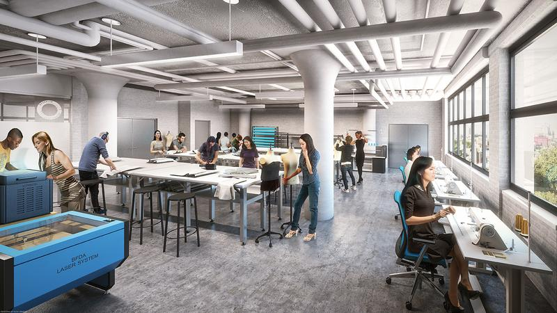 Rendering of the cut-and-sew production room of the Brooklyn Fashion and Design Accelerator
