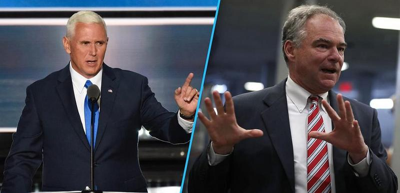 GOP vice presidential pick, Mike Pence (left) and Democratic running mate, Tim Kaine (right).