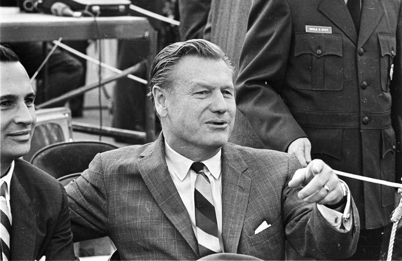12th October 1965: American Republican politician Governor Nelson Aldrich Rockefeller (1908 - 1979) at the signing of the Immigration Bill.