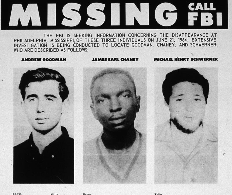 1964: An FBI poster seeking information as to the whereabouts of Andrew Goodman, James Earl Chaney and Michael Henry Schwerner, Civil Rights campaigners who went missing in Mississippi.